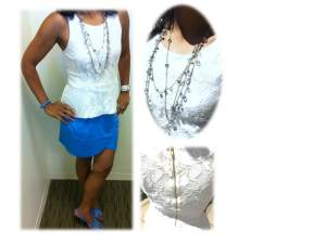 Blue Tulip Skirt with Lace Peplum Top