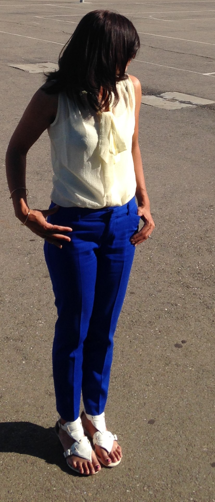 Cobalt Blue Ankle Pants and Yellow Blouse