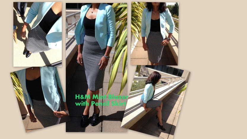 Mint Color Blazer with Midi Skirt